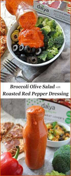 Easy Brocoli Olive Salad with Roasted Red Pepper Dressing #Livinontheveg