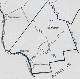 Map of the original Amwell Township, taken from John P. Snyder's NJ Civil Boundaries