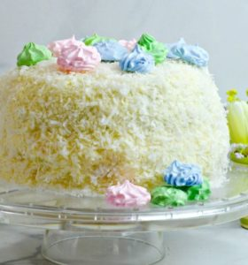 Coconut Cake Recipe with Meringue Cookie Toppers Recipe