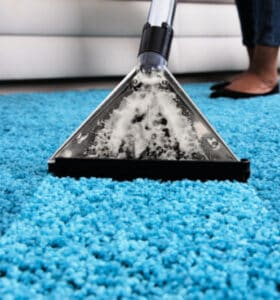 Woman using machine to steam clean shag carpeting