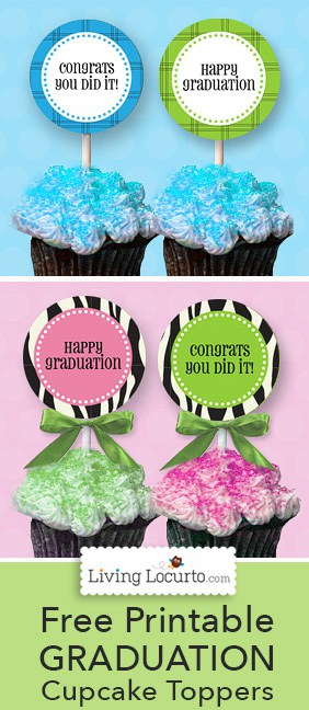 Free printable cupcake toppers and tags for a Graduation Party! LivingLocurto.com