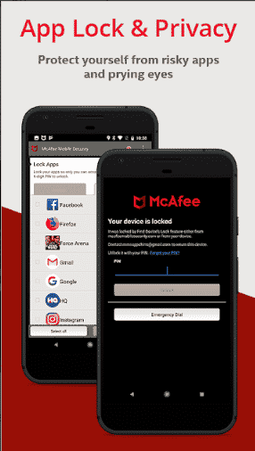 screenshot of mcafee AV for android