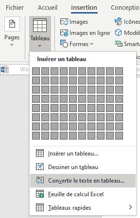 Word-convertir-texte-en-tableau Word