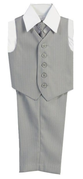 Boys Vest Set 4 Piece Silver