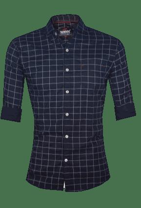 Casual Checks Shirts for Men's - L Navy Blue