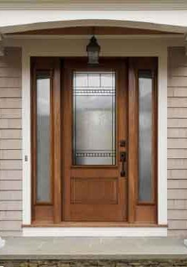 Novatech Fibreglass Entry Door Orleans Style Oak wood grain chanelle main glass, niagara sidelights