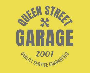 queen street garage logo square yellow and grey