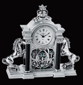 WC1011 - Monarchial Style Silver Clock with 2 Horses from Italy