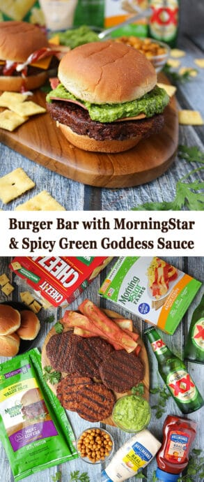 This summer, add a tasty and spicy spin to your backyard burger bar with this nutritious and tasty, Spicy Green Goddess Sauce ~ it is delicious slathered on burgers as well as a dipping sauce for fries.