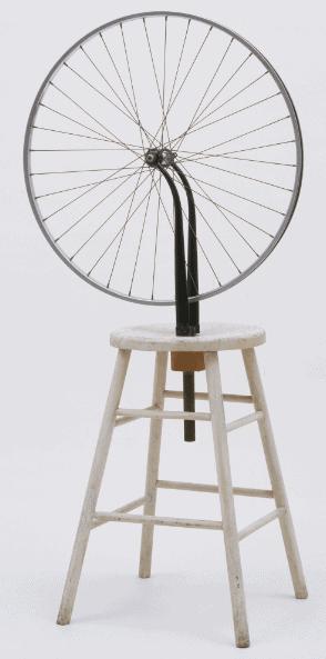 Dadaism example: Marcel Duchamp, Bicycle Wheel, 1913.