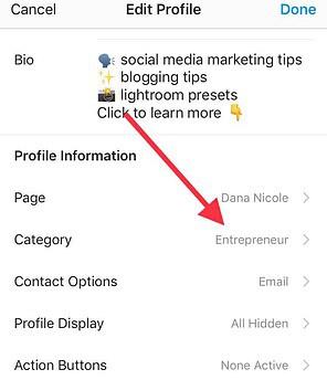 Instagram edit profile screenshot