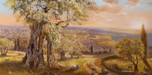 Old Jerusalem behind the olive tree