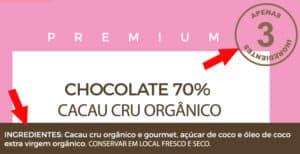 Exemplo de rótulo chocolate saudável 70% natural