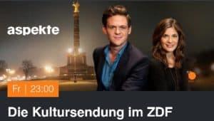 Das Bild zeigt die bieden Moderatoren des ZDF Kulturmagazines Aspekte