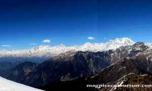 Pararomic view of grater Himalaya from Chandrashila, Uttarakhand.