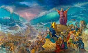 moses crossing the sea painting