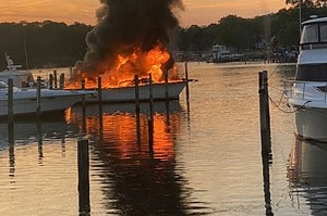 Marina Fire off Middle River Critically Injuries One Person