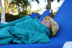 baby nap, baby naps at pool, pool lounger, baby naps on vacation