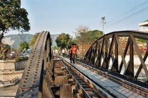 crossing the Death Railway Bridge on foot