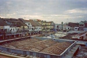 rooftop view of central market in Kratie