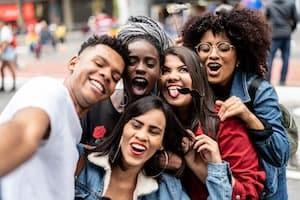 Generation Z friends taking a selfie
