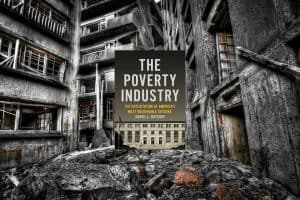 The cover of The Poverty Industry book, with a background of run-down buildings.