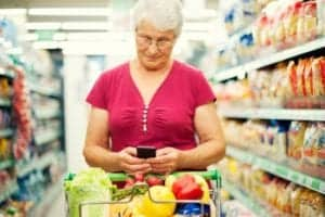 Woman shopping for alkaline diet
