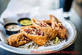 irish egg rolls at Lumberyard Brewing