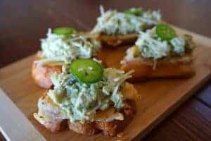 chicken salad crostini with Mexican Caesar Dressing
