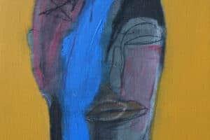 "Hosni Radwan, ""Faces series"", 2015, mixed media on canvas, 50 x 50 cm"