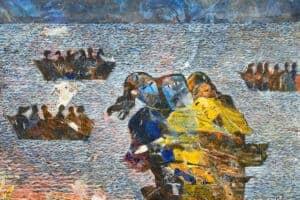 Tayseer Barakat, Shoreless Sea #32, 2019, acrylic on canvas, 50 x 70 cm