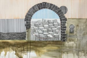 Yazan Abu Salameh, The Execution of a City (2021), ink and acrylic on paper, 75 x 110 cm