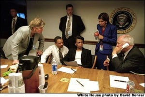 Photo of Cheney, Rice, Matlan, etc. in White House PEOC