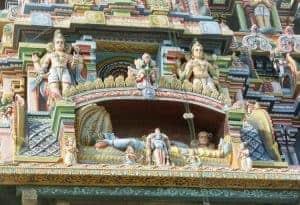 sculpture of sleeping Vishnu at Sri Ranganathaswamy temple