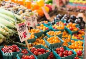 Assorted berries, fruits and veggies at market
