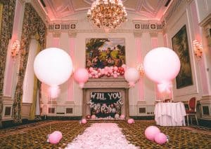 Proposal pink balloons