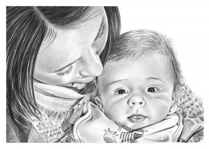 Pencil Drawing of Mother and Baby Son