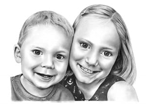 Pencil Drawing of Brother and Sister