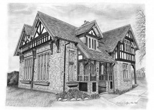 Pencil Drawing of Cemetery Lodge House