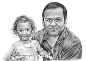 Pencil Drawing of Father and Daughter