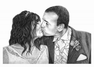 Portrait Drawing of a Wedding Kiss