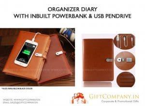 Diary with Powerbank & USB Pendrive