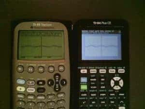 Simultaneously graphing y=cos (x) reveals little between the two calculators
