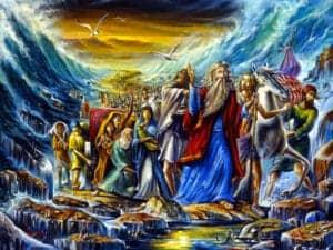 Moses crossing sea