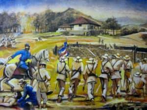Cuadro pintado de la batalla de Santa Rosa