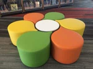 Comfy and fun seating in the new Advanced Learning Library children's area