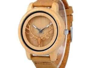 Montre à Quartz cerf Homme et Femme – Bois de bambou – Bracelet en cuir – Tilleul