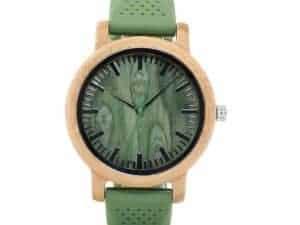 Montre à Quartz uni Homme et Femme – Bois de bambou – Bracelet en silicone vert – Olivier