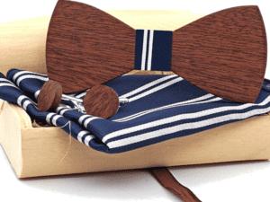 Coffret noeud papillon bois – tissu – bouton de manchette – Leopard
