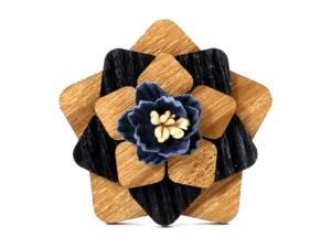 Broche fleur en bois – Trèfle